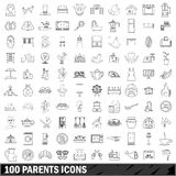 100 parents icons set, outline style Royalty Free Stock Images