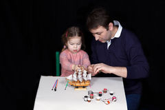 Parents and kids art and crafts Stock Photo