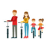 Parents And Kids With Bicycles In Park, Happy Family Having Good Time Together Illustration Stock Images