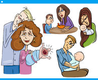 Parents and kids cartoon set Stock Image