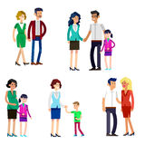 Parents with kids, couple, family and children. Detailed character people family, parents with kids, couple, family with children, gay family. Vector family Royalty Free Stock Image