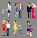 Parents with kids, couple, family and children. Detailed character people family, parents with kids, couple, family with children, gay family. Vector family Royalty Free Stock Images