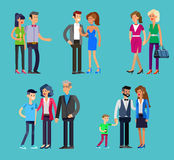 Parents with kids, couple, family and children. Detailed character people family, parents with kids, couple, family with children, gay family. Vector family Stock Photos