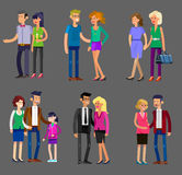 Parents with kids, couple, family and children. Detailed character people family, parents with kids, couple, family with children. Vector family character Stock Images