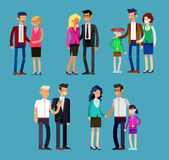 Parents with kids, couple, family and children. Detailed character people family, parents with kids, couple, family with children. Vector family character Royalty Free Stock Photography