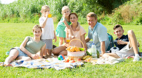 Parents with kids having picnic. Happy parents with four kids in different age having picnic outdoors on sunny day Royalty Free Stock Photo