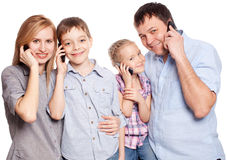 Parents with kids with mobile phone Royalty Free Stock Photo