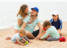 Parents with kids at seaside Royalty Free Stock Photo
