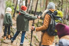 Parents and kids trekking in forest. Back view of parents and kids trekking together in autumn forest Royalty Free Stock Image