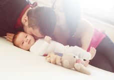 Parents with little baby at home Royalty Free Stock Photo
