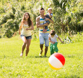 Parents with little daughters outdoor Royalty Free Stock Photo