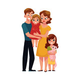 Parents, mom and dad, holding little daughter, loving family portrait. Parents, mom and dad, holding little daughter, loving family, cartoon vector illustration Stock Photos