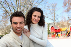 Parents in park for children Stock Photos