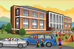 Parents Picking Up Kids from School Stock Images