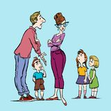 Parents quarrel and child listen. Family conflict. Parents and three children. vector illustration
