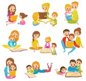 Parents reading books to they kids together set cartoon vector Illustrations on a white background stock illustration
