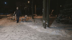 Parents roll their little daughter on a sled on a snow-covered park stock video