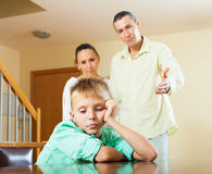 Parents scolding teenager son Royalty Free Stock Photos