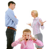 Parents share child. Scandal in the family. Parents share child. Isolated on white background Royalty Free Stock Photos