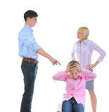 Parents share child. Scandal in the family. Parents share child. Isolated on white background Royalty Free Stock Photo