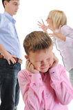Parents share child. Stock Photography