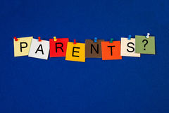 Parents - sign series. Parents - sign series, letters on noticeboard with pins royalty free stock images