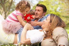 Parents Sitting With Children In Field Royalty Free Stock Images