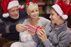 Parents with son during Christmas Stock Images
