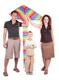 Parents, son and color kite Royalty Free Stock Photography