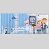 Parents and son with doctor at hospital Stock Photography