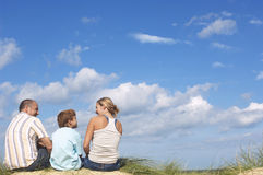 Parents And Son Enjoying Beach View Royalty Free Stock Photography