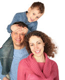 Parents with son on father`s shoulders. On white Stock Image