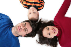 Parents with son lying top view Royalty Free Stock Photo