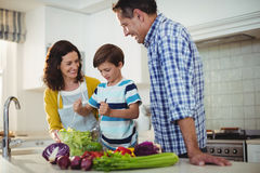 Parents and son mixing the salad in kitchen Stock Images