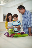 Parents and son mixing the salad in kitchen. At home Stock Photos