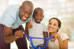 Parents son ride bicycle Stock Photography