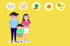 Parents and son stand in a comfortable manner and empty right side space for text. Background concepts essential to the family. Fl Stock Photography