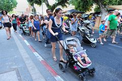 Parents Stage  Strollers Protest  In Israel Stock Images