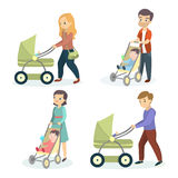 Parents with strollers. Royalty Free Stock Images