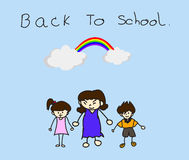 Parents take their children to school. Parents take their children to school, BACK TO SCHOOL concept Royalty Free Stock Photos