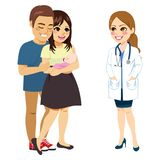 Parents Talking Doctor. Young new parents holding baby talking with doctor woman royalty free illustration