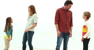 Parents talking with their children. On the beach stock footage