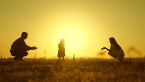 Parents are taught to walk a small child, little girl makes her first steps in sun, slow motion. parents play with their stock footage