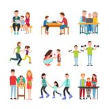 Parents Spend Time with Children Illustrations Set Royalty Free Stock Image