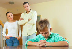 Parents  and teenager son having conflict Royalty Free Stock Image