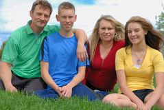 Parents with teens. Parents with their children outside Stock Photo