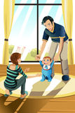 Parents with their baby. A vector illustration of parents helping their baby boy learning to walk royalty free illustration