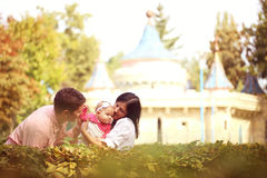 Parents with their baby girl in the park Royalty Free Stock Photography