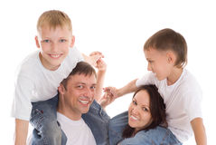 Parents with their  children Stock Photo
