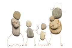 Parents with their children. Made from pebbles Stock Images